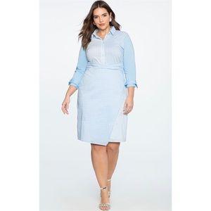 NWT Eloquii Striped Gingham Shirt Dress
